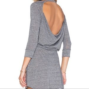 Chaser Heather Gray Open Back Jersey Dress XS